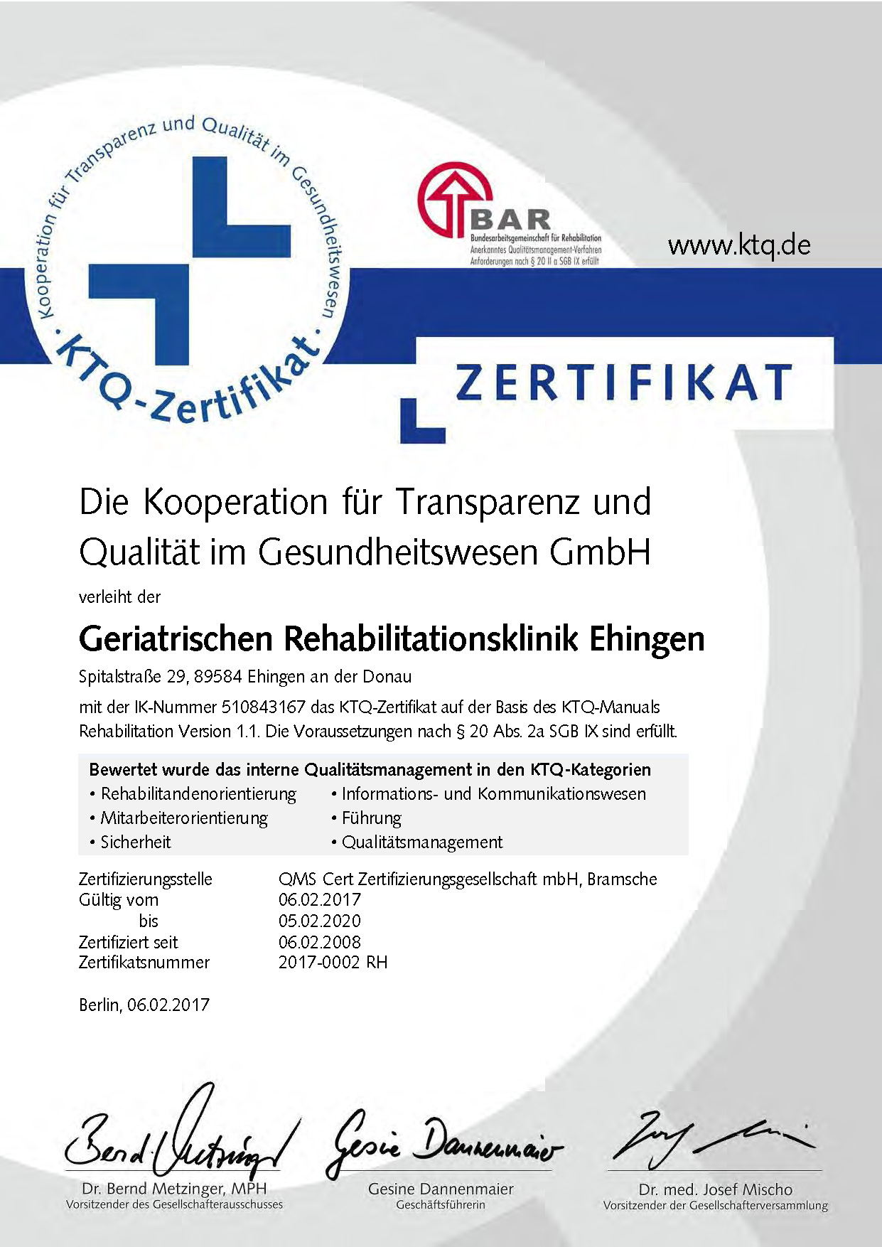Zertifizierung Geriatrische Rehabilitationsklinik Ehingen