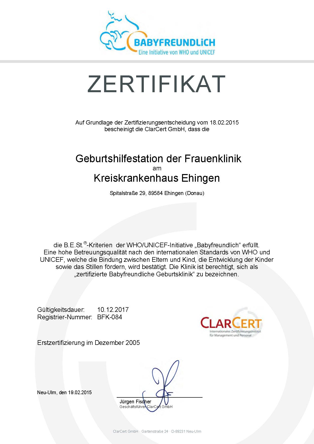 Zertifikat Babyfreundliche Geburtsklinik Ehingen