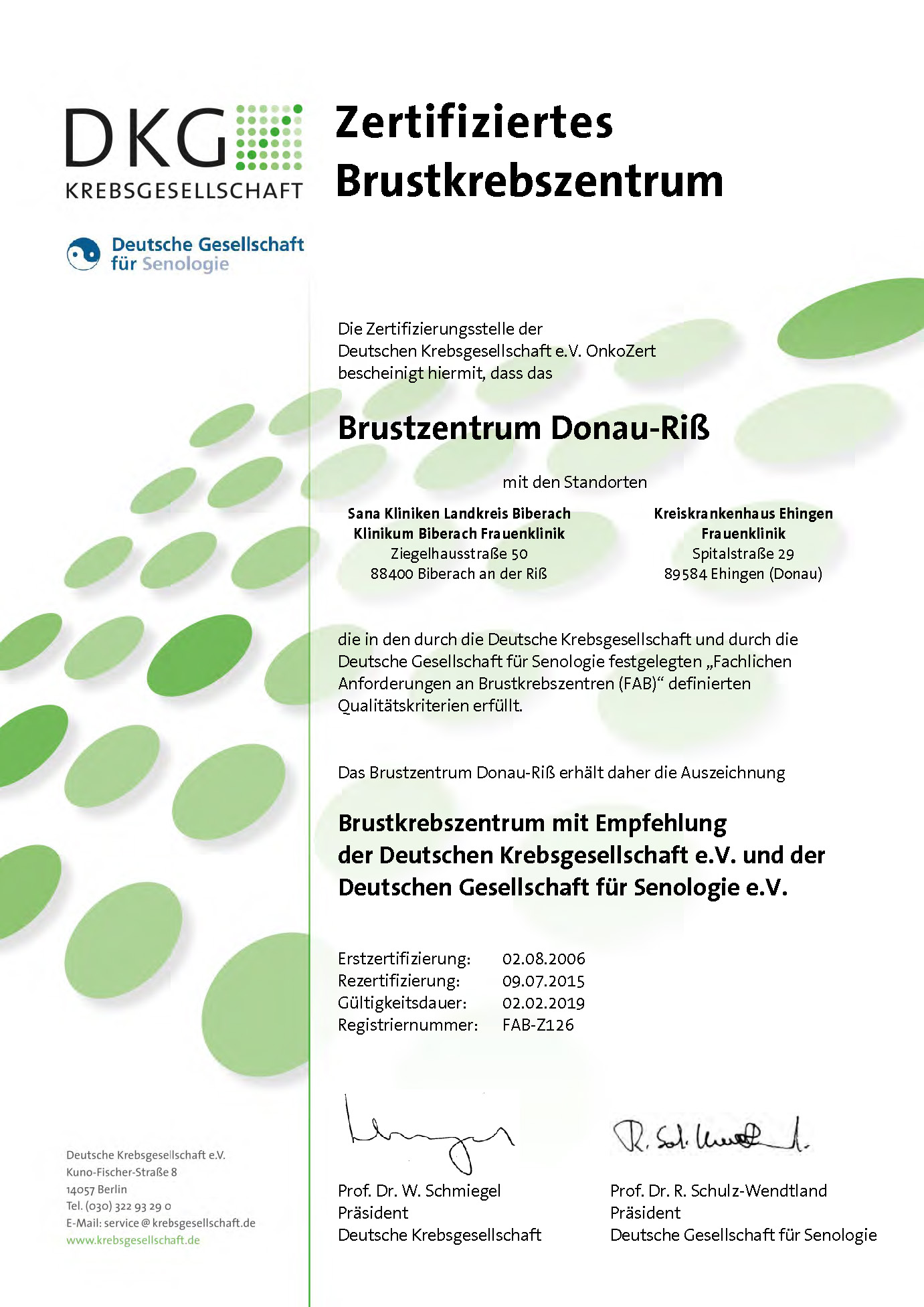 Zertifikat Brust-Zentrum Donau-Riß