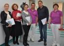 Russische Ärztinnen und Ärzte mit Dr. Göretzlehner und Frau Merz beim OP Workshop im Kreiskrankenhaus Ehingen